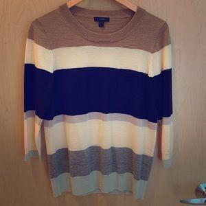 J Crew Tippi Colorblock Stripe Merino Wool Sweater